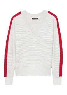 Banana Republic Cashmere Stripe Varsity Sweater