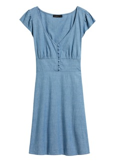 Banana Republic Chambray Button-Front Mini Dress
