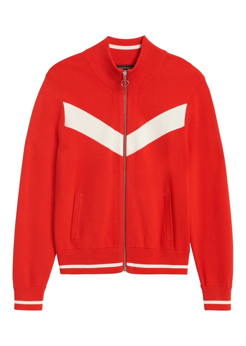 Banana Republic Chevron Sweater Track Jacket