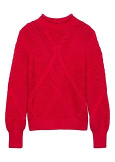 Banana Republic Chunky Cable-Knit Mock-Neck Sweater