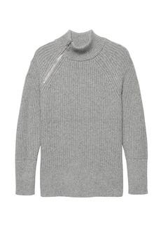 Banana Republic Chunky Side-Zip Mock-Neck Sweater