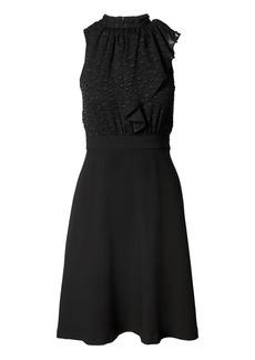 Banana Republic Clip-Dot Ruffle-Neck Fit-and-Flare Dress