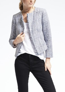 Collarless Boucle Jacket