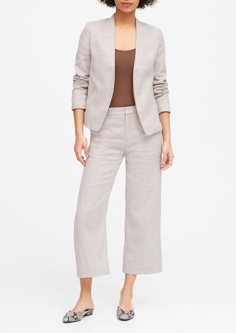 Banana Republic Collarless Linen-Cotton Blazer