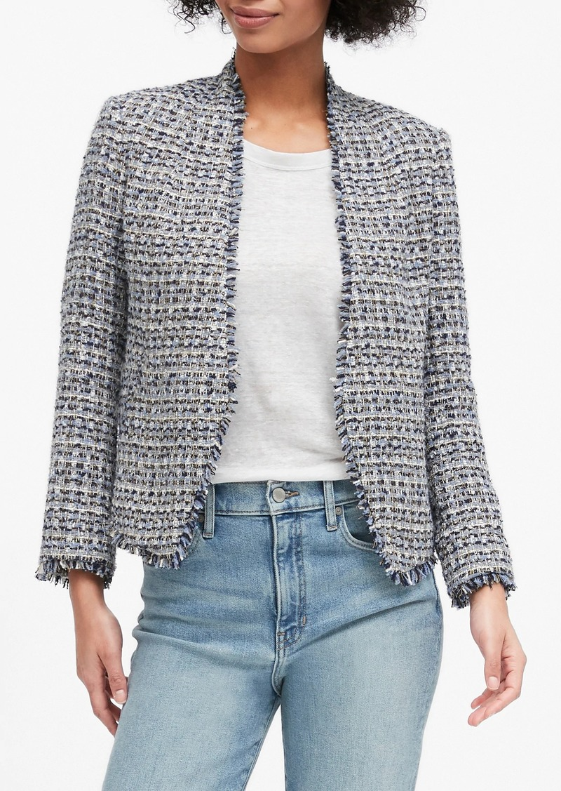 Banana Republic Collarless Metallic Tweed Blazer