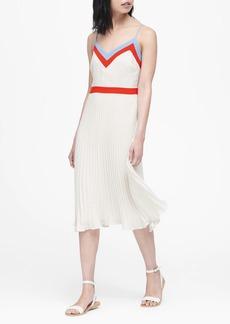 Banana Republic Color-Block Pleated Midi Dress