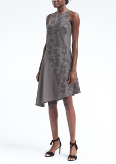 Color-Blocked Racer-Neck Asymmetrical Dress