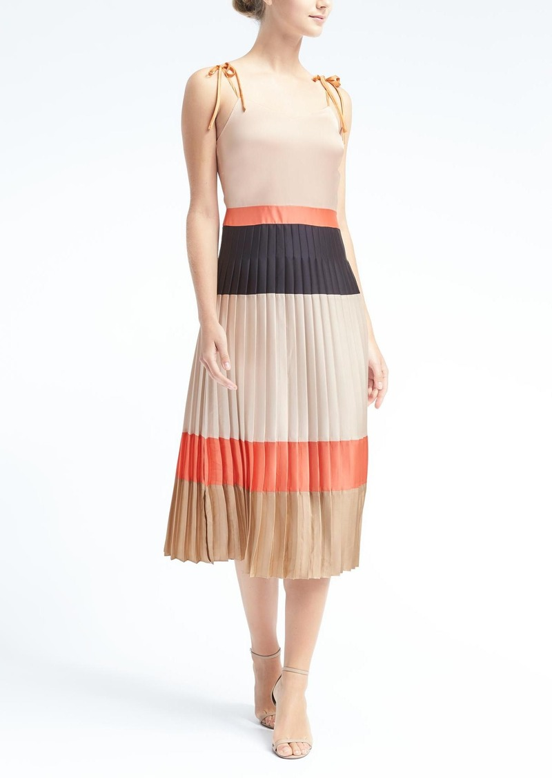 Banana Republic Colorblock Pleated Midi Dress