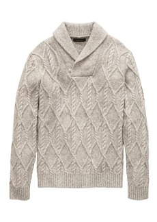 Banana Republic Cotton-Blend Cable-Knit Shawl-Collar Sweater