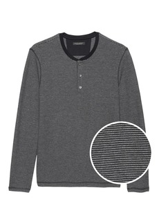 Banana Republic Cotton-Modal Waffle-Knit Long-Sleeve Henley T-Shirt