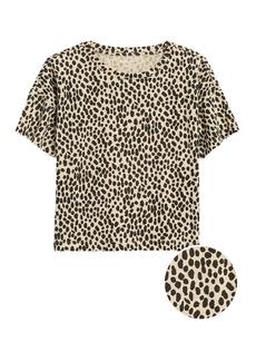 Banana Republic Slub Cotton-Modal Boxy Cropped T-Shirt
