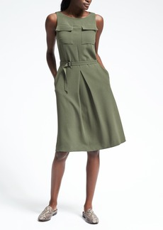 Crepe Belted Pocket Dress