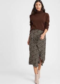 Banana Republic Crepe Ruffled Midi Skirt