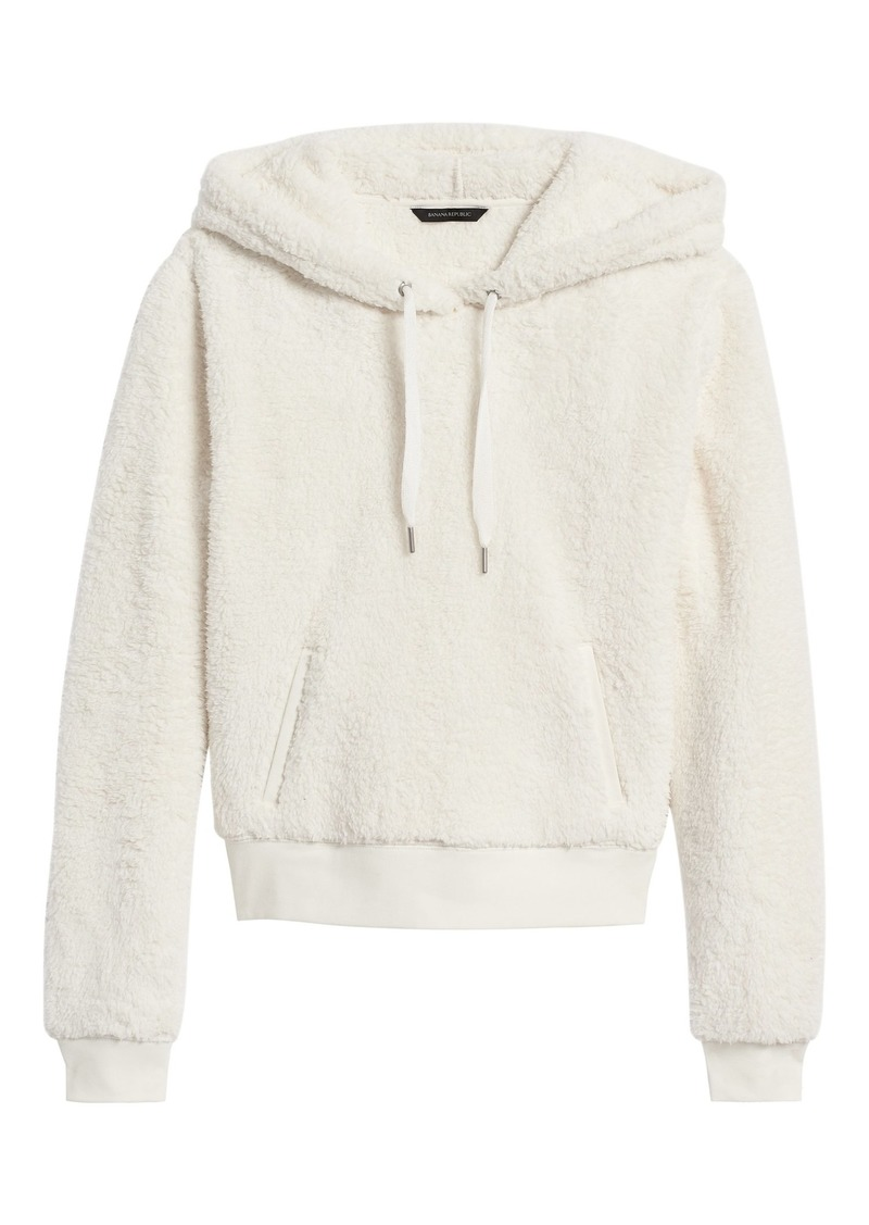 Banana Republic Cropped Sherpa Fleece Hoodie