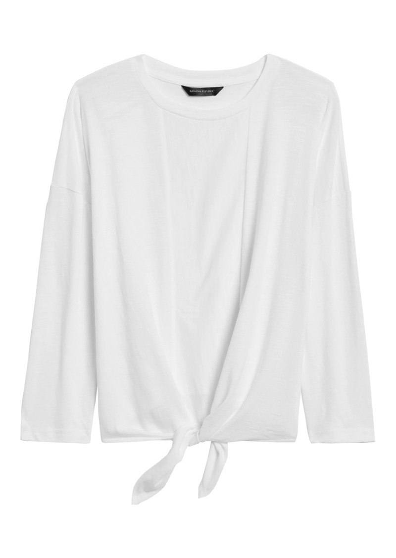 Banana Republic Cropped Tie-Front T-Shirt