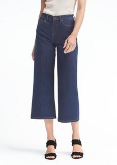Dark Wash High-Rise Wide-Leg Crop Jean