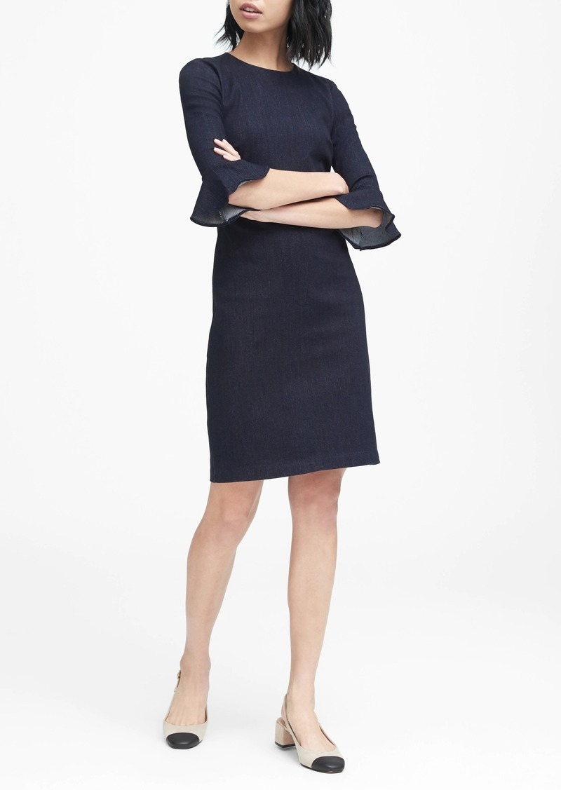 Banana Republic Denim Flutter-Sleeve Sheath Dress