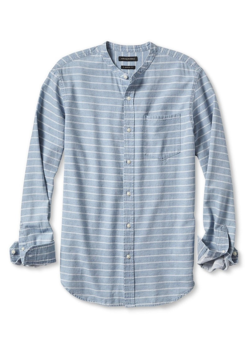 Banana Republic Denim Stripe Banded Collar Shirt