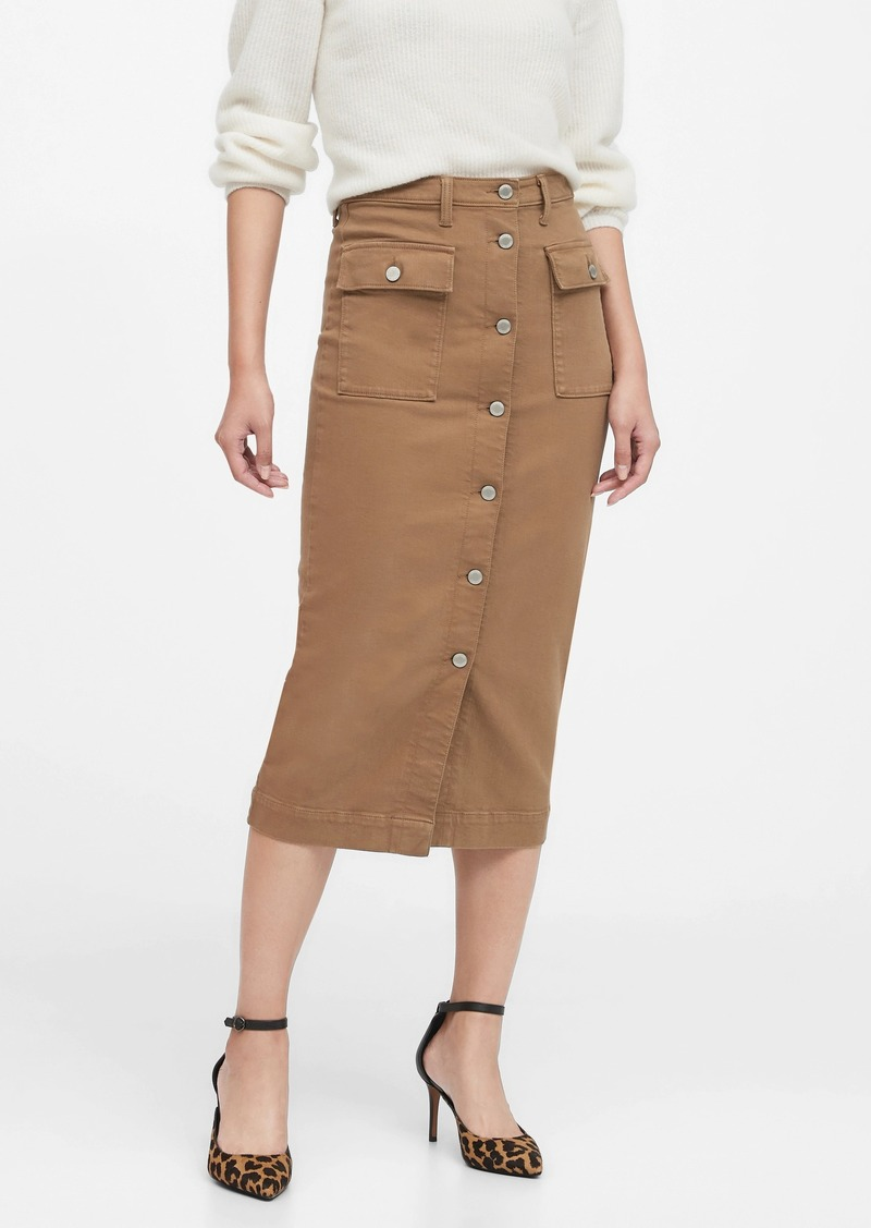 Banana Republic Denim Utility Midi Skirt