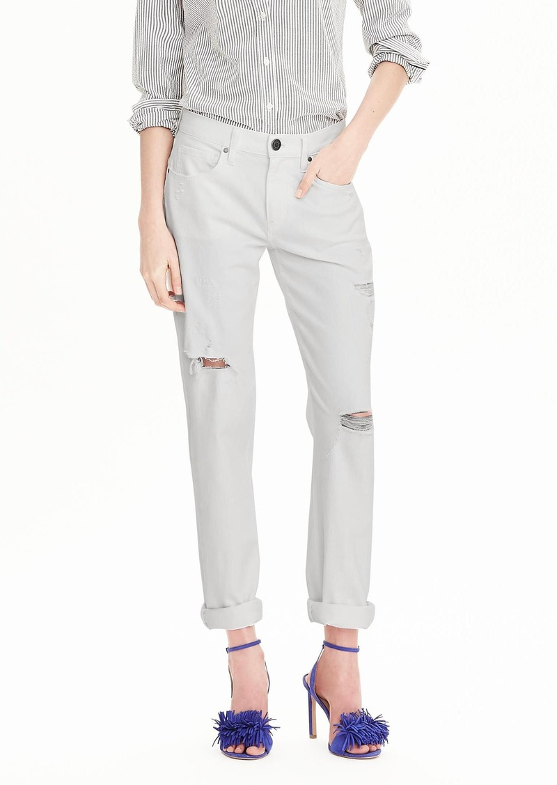 Banana Republic Destructed White Boyfriend Jean