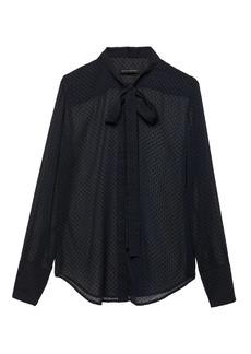 Banana Republic Dillon Classic-Fit Sheer Clip-Dot Tie-Neck Shirt