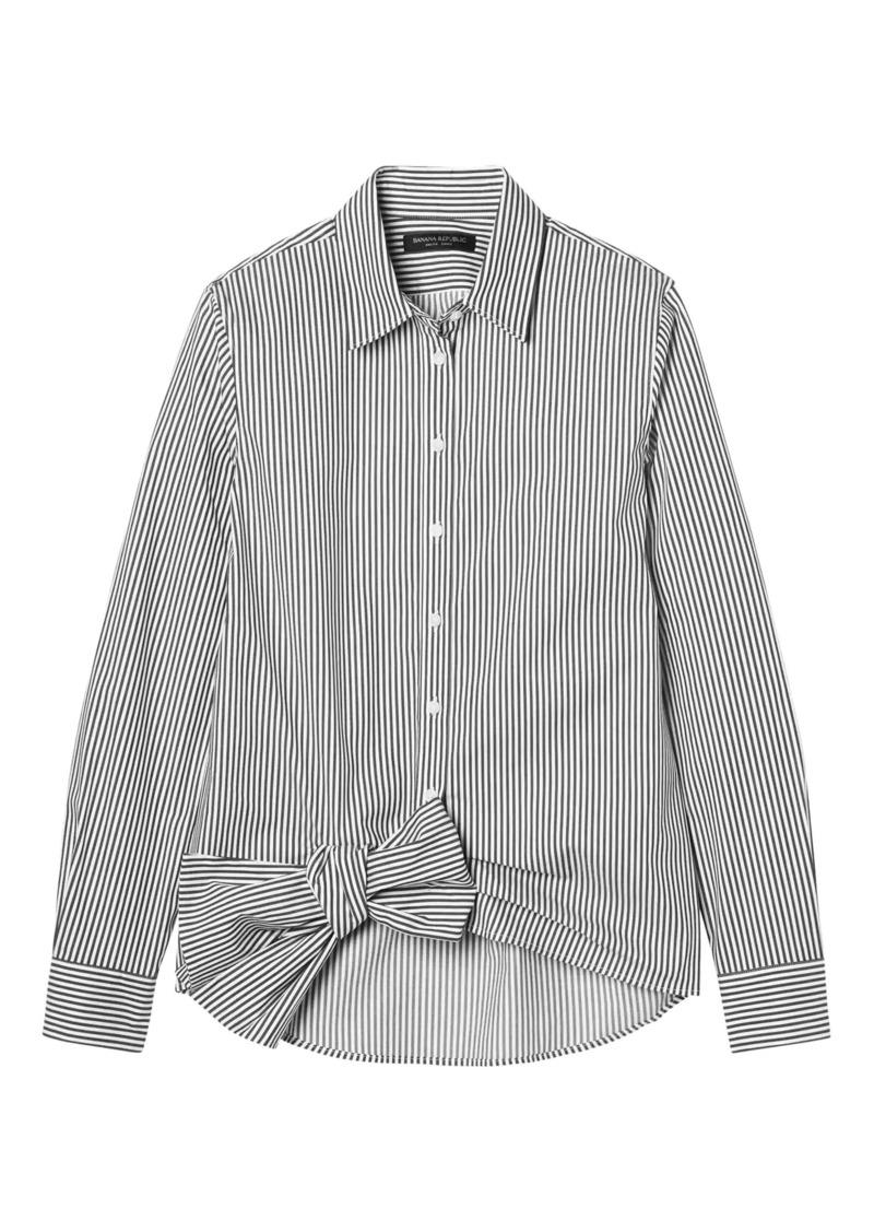 7c94135c1dae90 Banana Republic Dillon-Fit Stripe Bow-Hem Shirt