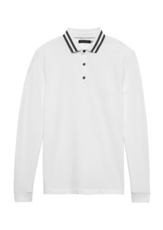 Banana Republic Don't-Sweat-It Long-Sleeve Stripe-Collar Polo