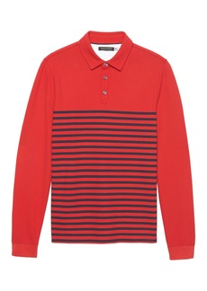 Banana Republic Don't-Sweat-It Long-Sleeve Stripe Polo