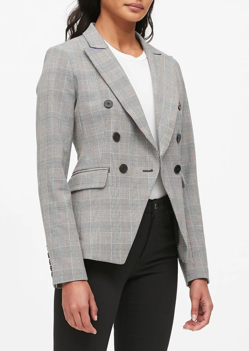 Banana Republic Double-Breasted Plaid Blazer