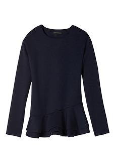 Double-Peplum Couture Sweatshirt