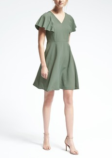 Drape-Sleeve Fit-and-Flare Dress