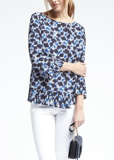 Banana Republic Easy Care Floral Print Ruffle Blouse