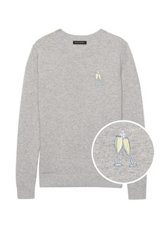 Banana Republic Embroidered Champagne Sweater