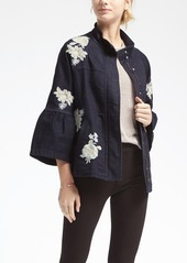 Banana Republic Embroidered Ruffle-Sleeve Denim Jacket