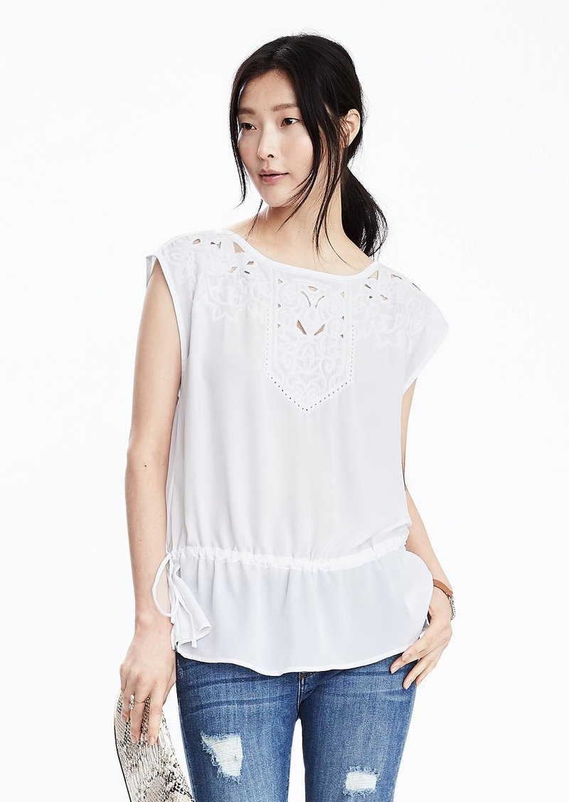 Banana Republic Embroidered Tie-Waist Top