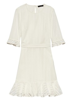 Banana Republic Eyelet Fit-and-Flare Dress