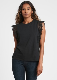 Banana Republic Eyelet Ruffle T-Shirt