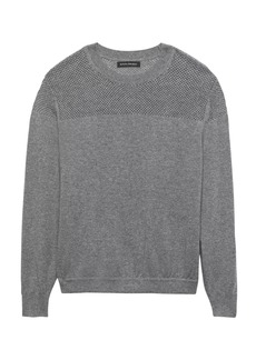Banana Republic Feather-Touch Mixed-Stitch Crew-Neck Sweater