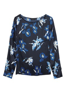 Banana Republic Floral Covered Button-Cuff Top