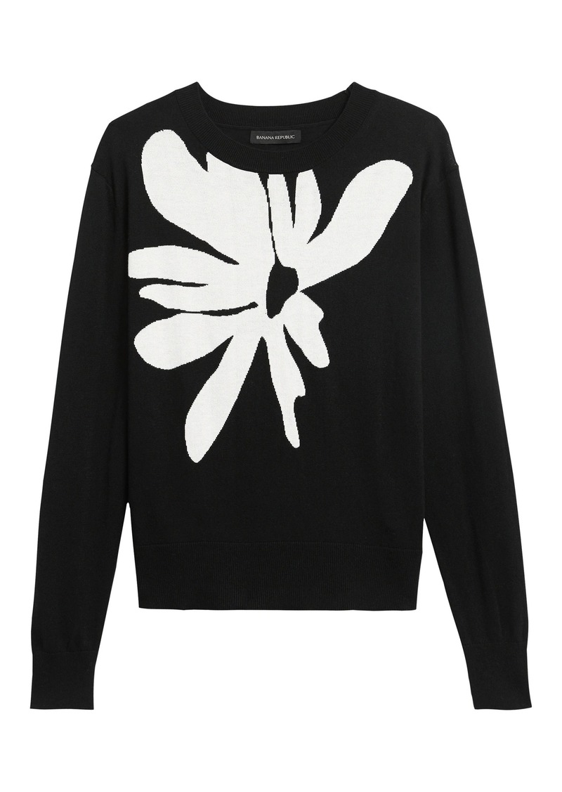 Banana Republic Floral Cropped Sweater