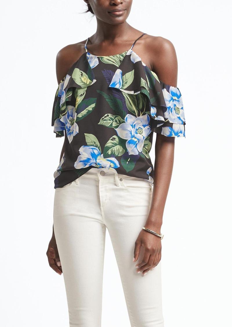 bfe0407686a Banana Republic Floral Easy Care Cold-Shoulder Flutter Sleeve Top