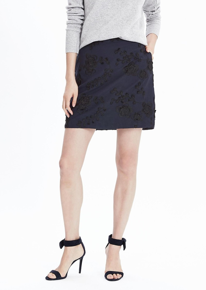 Banana Republic Floral Embroidered A-Line Skirt