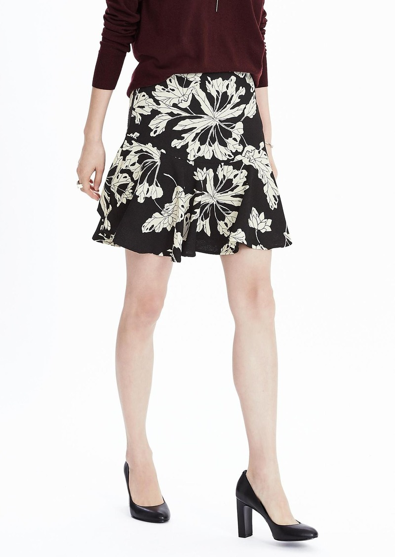 Banana Republic Floral Flounce Hem Skirt