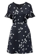 Banana Republic Floral Flutter Sleeve Fit-and-Flare Dress
