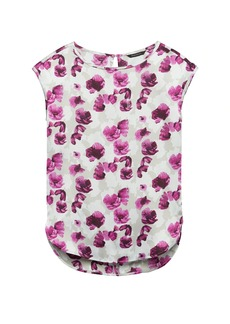 Banana Republic Floral High-Low Curved Hem Top
