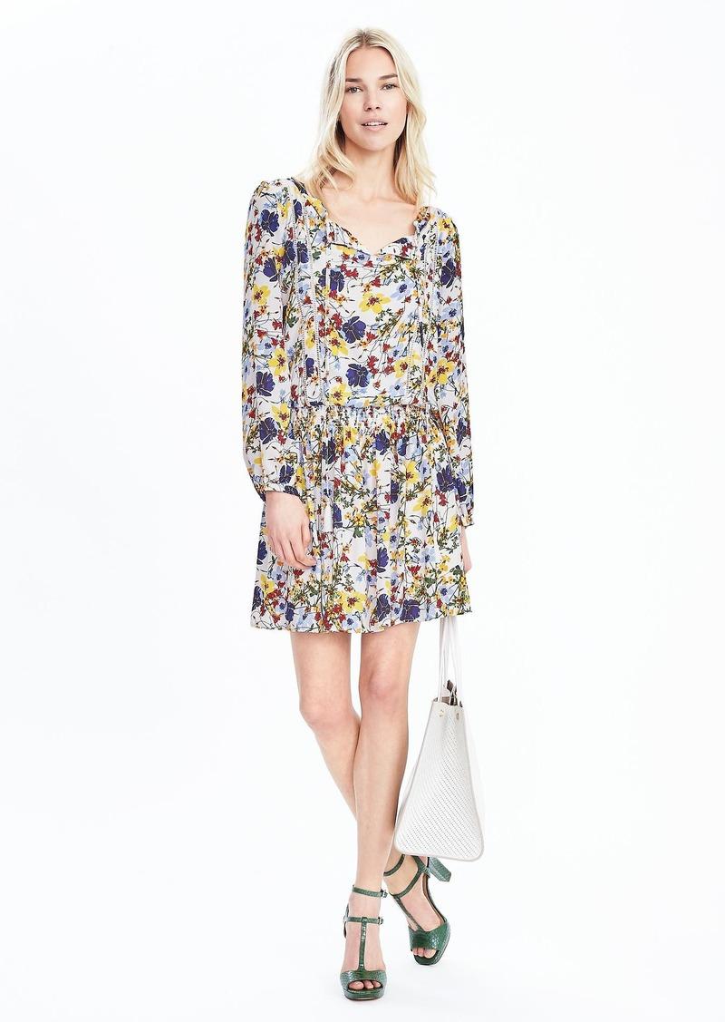 Banana Republic Floral Long-Sleeve Dress