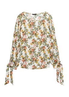 Banana Republic Floral Tie-Cuff Top