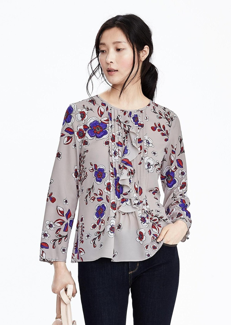 Banana Republic Floral Pleated Ruffle Top