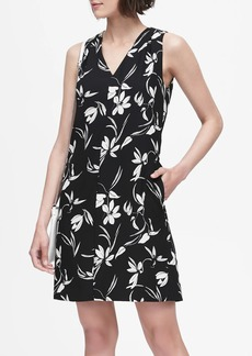 Banana Republic Floral Pleated-Shoulder Shift Dress