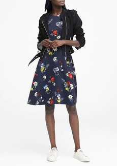 Banana Republic Floral Racer-Neck Fit-and-Flare Dress